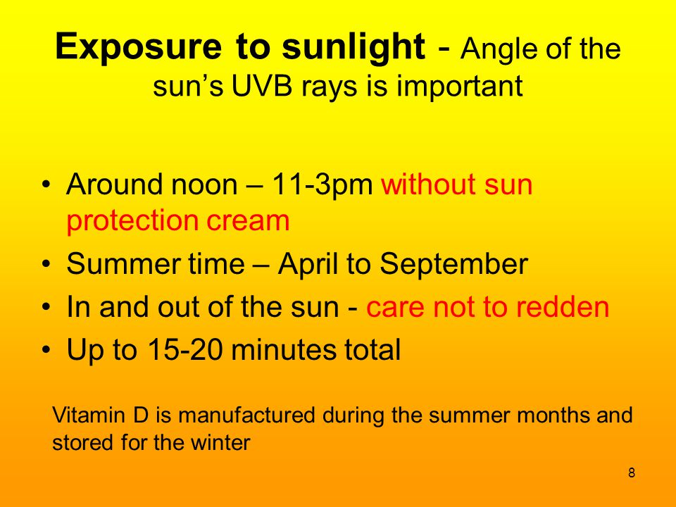 Exposure to sunlight - Angle of the sun's UVB rays is important