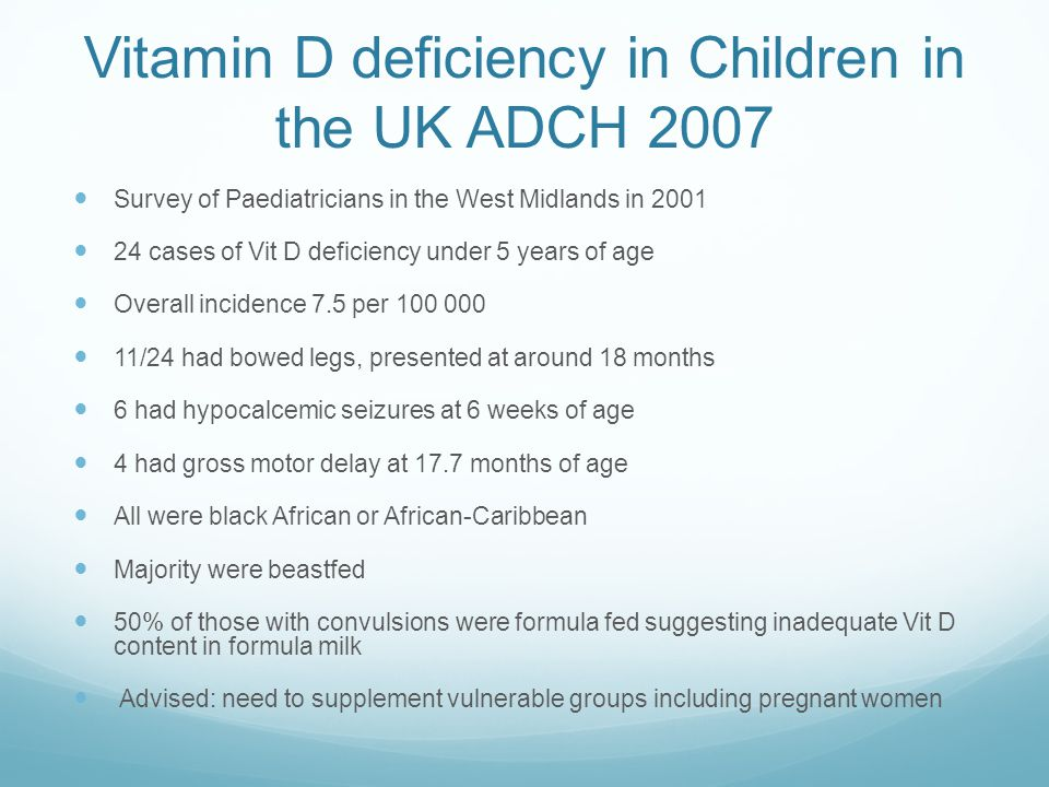 Vitamin D deficiency in Children in the UK ADCH 2007