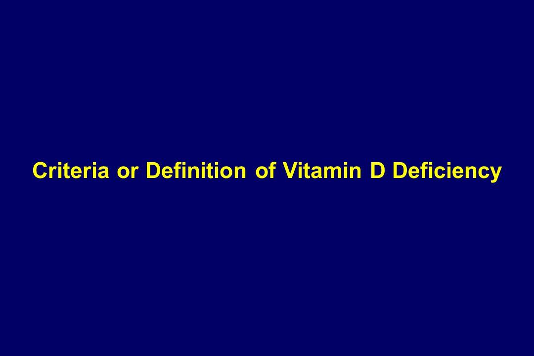 Criteria or Definition of Vitamin D Deficiency