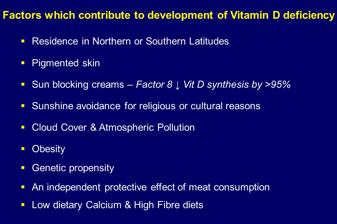 Factors which contribute to development of Vitamin D deficiency