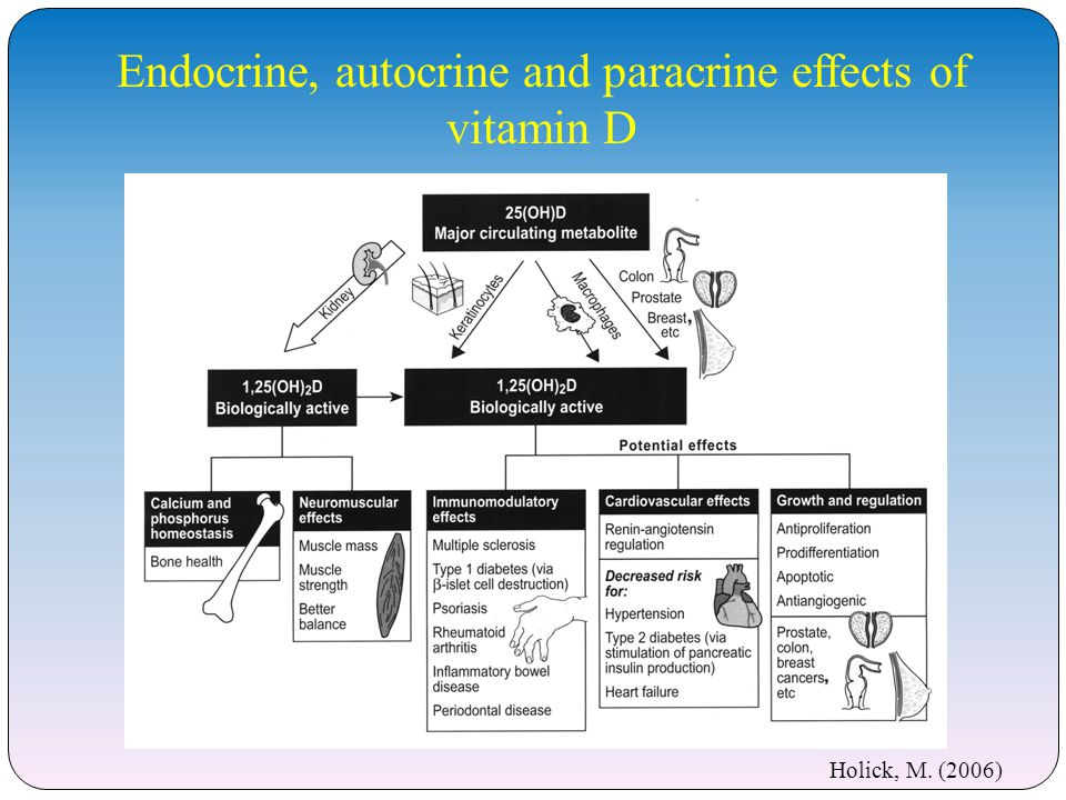 Endocrine, autocrine and paracrine effects of vitamin D
