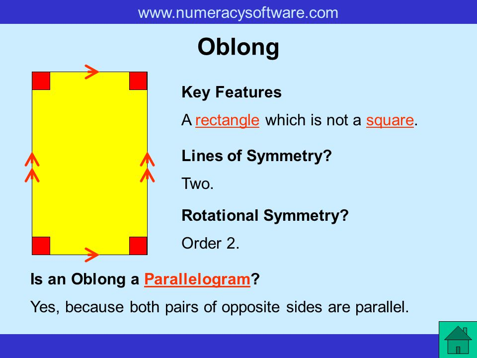 Oblong Key Features A rectangle which is not a square.