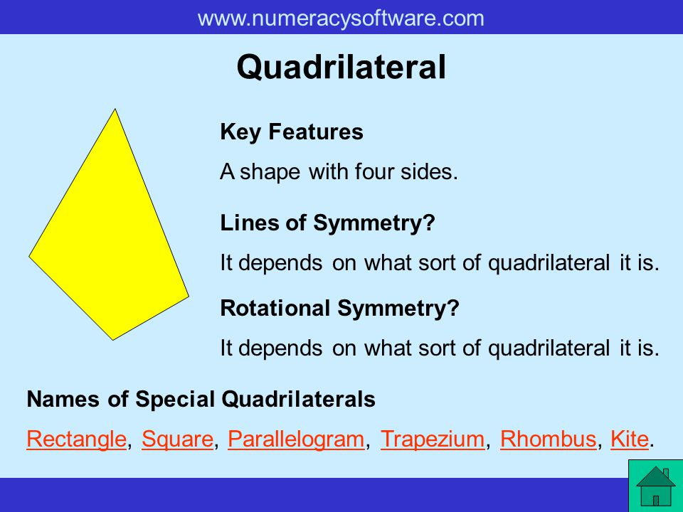 Quadrilateral Key Features A shape with four sides. Lines of Symmetry