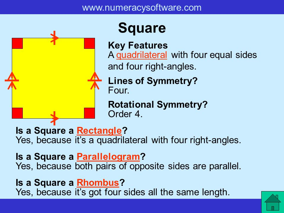Square Key Features. A quadrilateral with four equal sides and four right-angles. Lines of Symmetry
