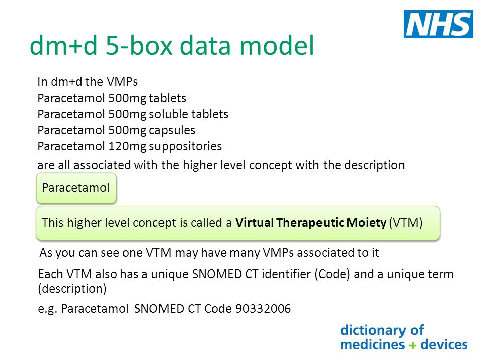 dm+d 5-box data model In dm+d the VMPs Paracetamol 500mg tablets