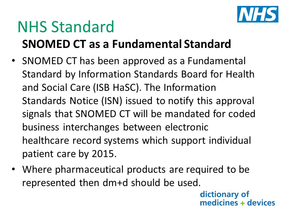 NHS Standard SNOMED CT as a Fundamental Standard
