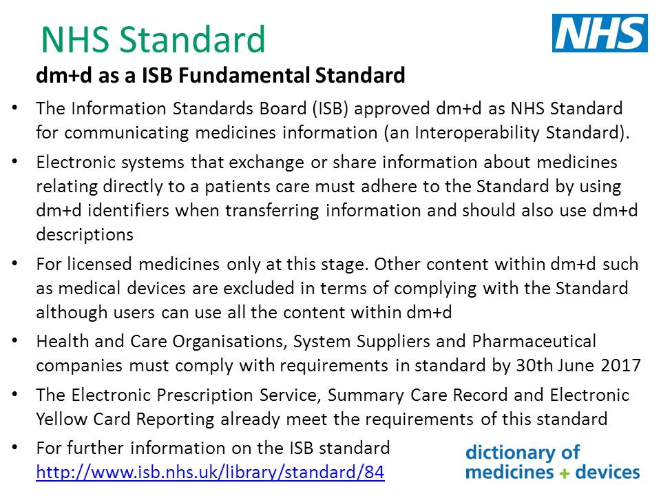 NHS Standard dm+d as a ISB Fundamental Standard
