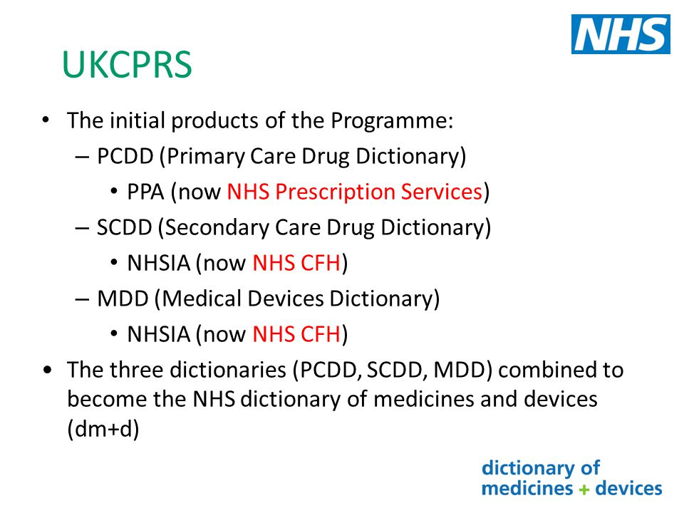 UKCPRS The initial products of the Programme: