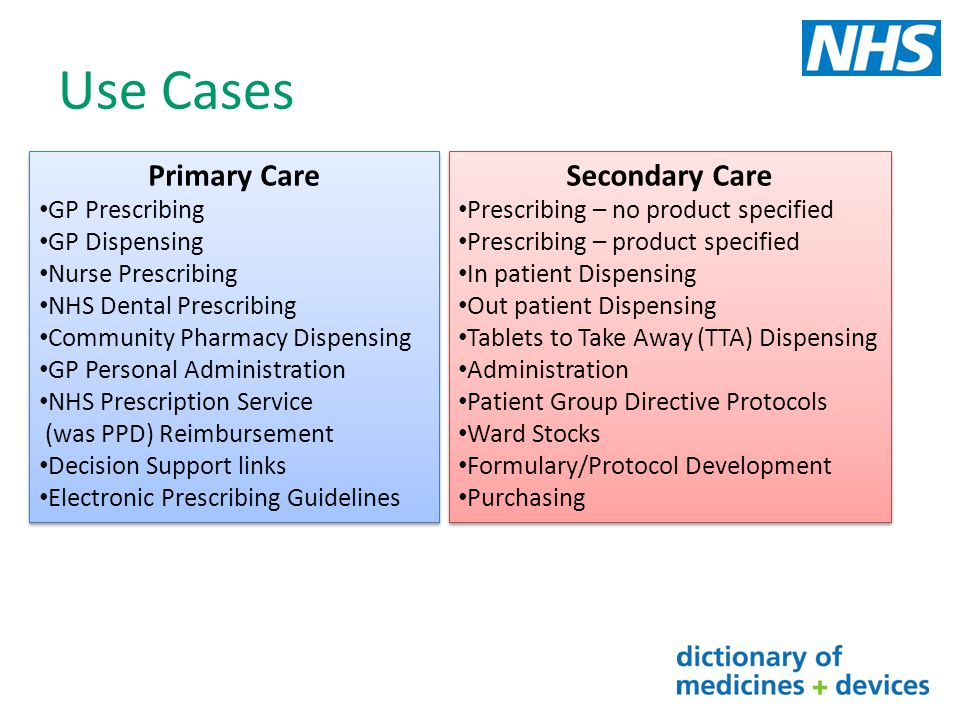 Use Cases Primary Care Secondary Care GP Prescribing GP Dispensing