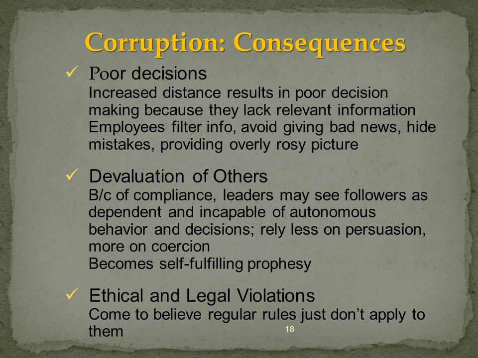 Corruption: Consequences