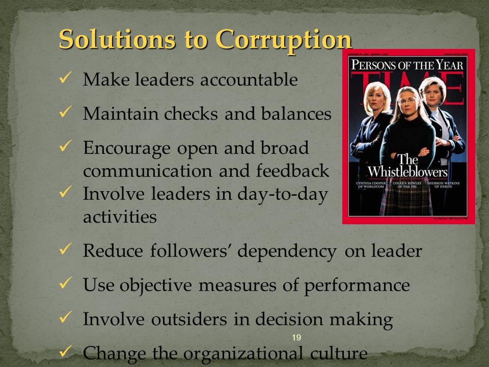 Solutions to Corruption