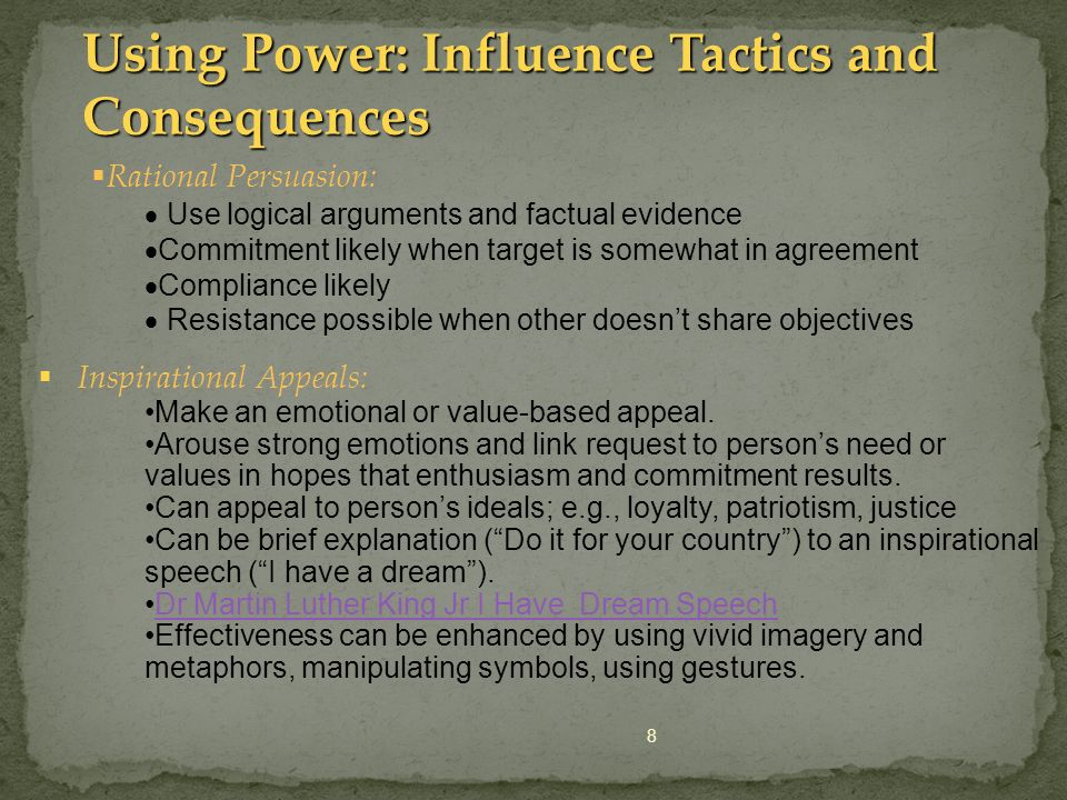 Using Power: Influence Tactics and Consequences