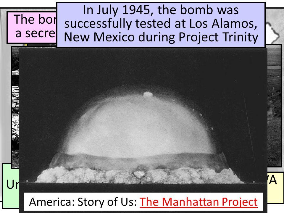 The bomb was constructed in a secret city in Oak Ridge, TN