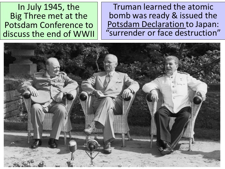 In July 1945, the Big Three met at the Potsdam Conference to discuss the end of WWII
