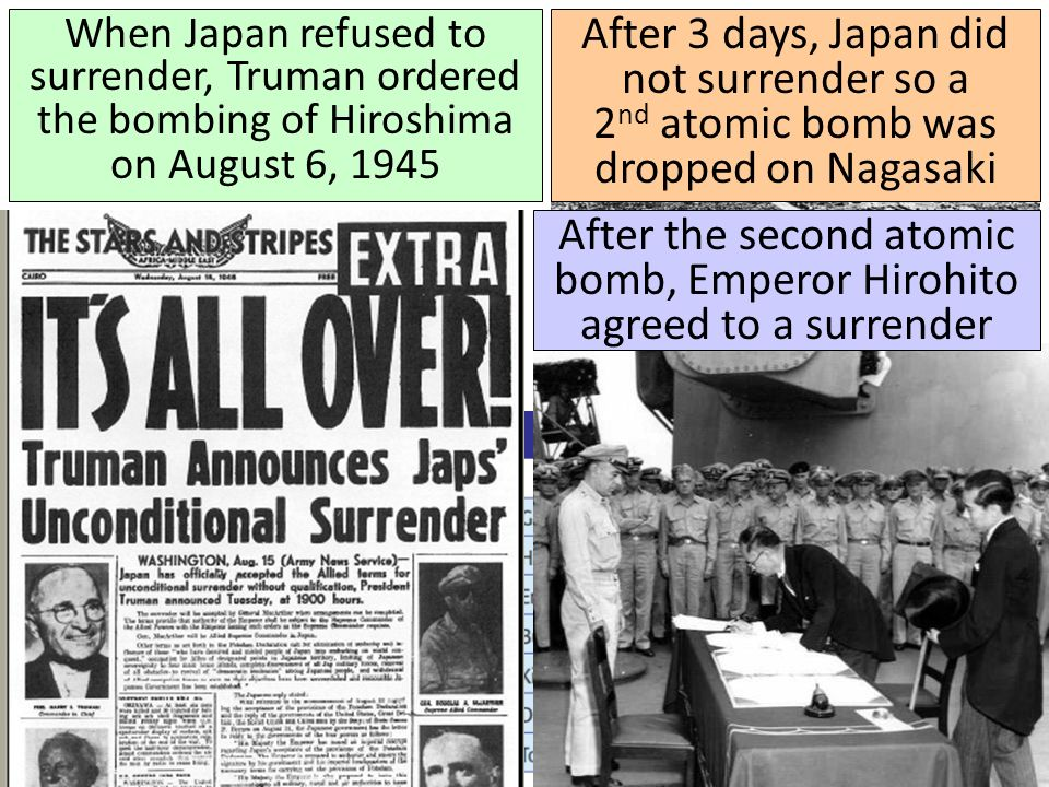 After the second atomic bomb, Emperor Hirohito agreed to a surrender