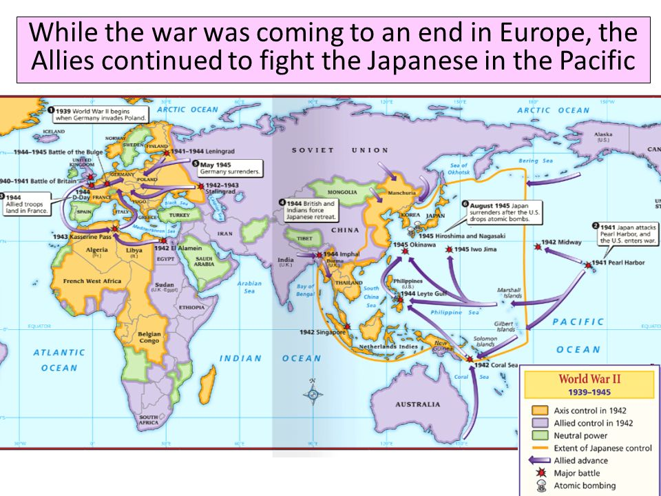 While the war was coming to an end in Europe, the Allies continued to fight the Japanese in the Pacific