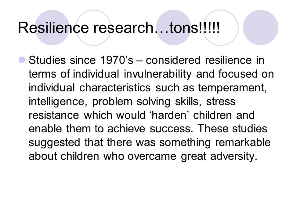 Resilience research…tons!!!!!
