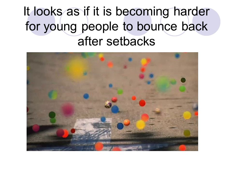 It looks as if it is becoming harder for young people to bounce back after setbacks