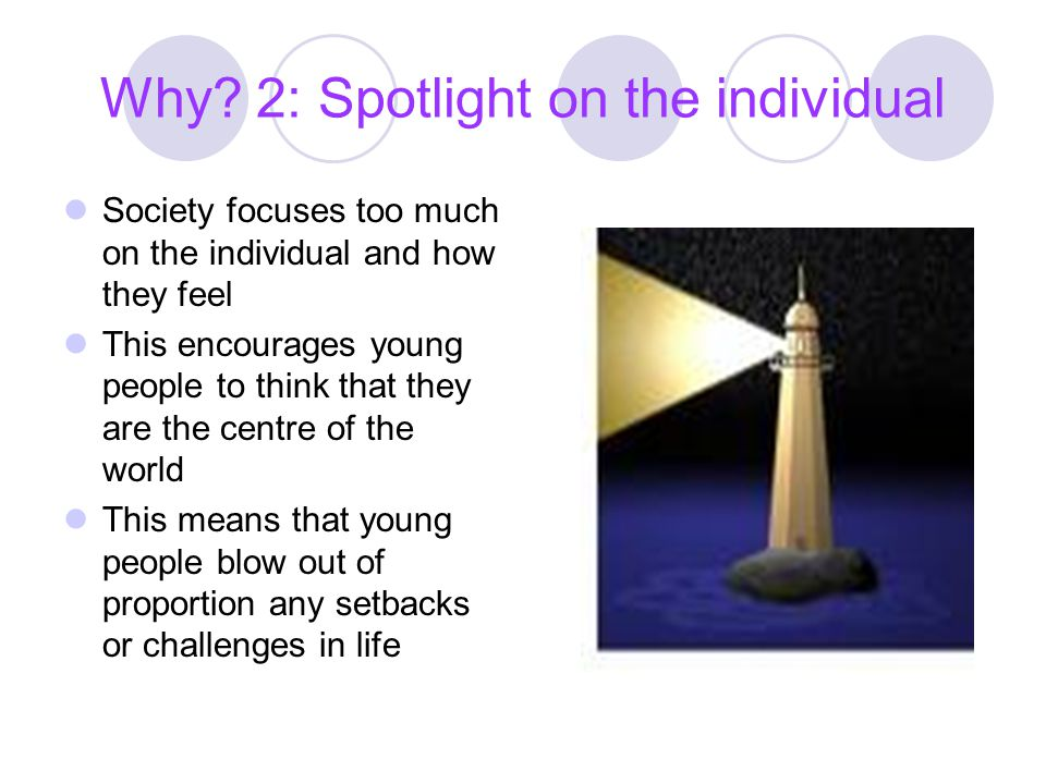 Why 2: Spotlight on the individual