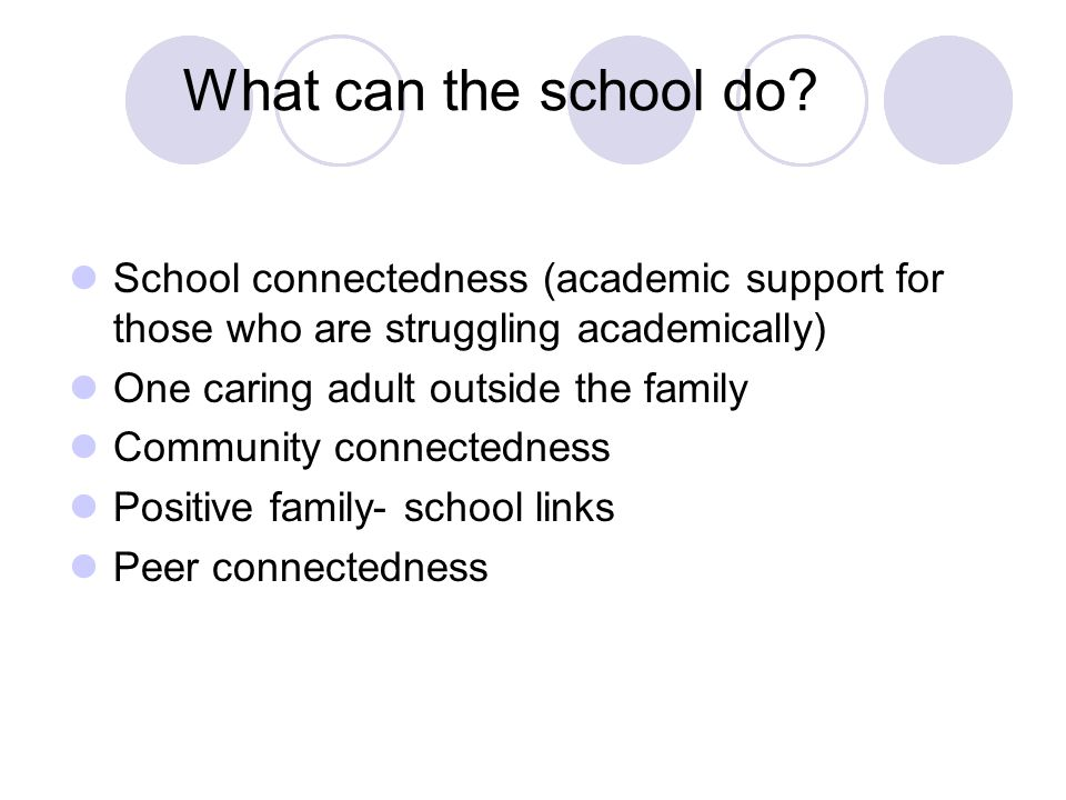 What can the school do School connectedness (academic support for those who are struggling academically)
