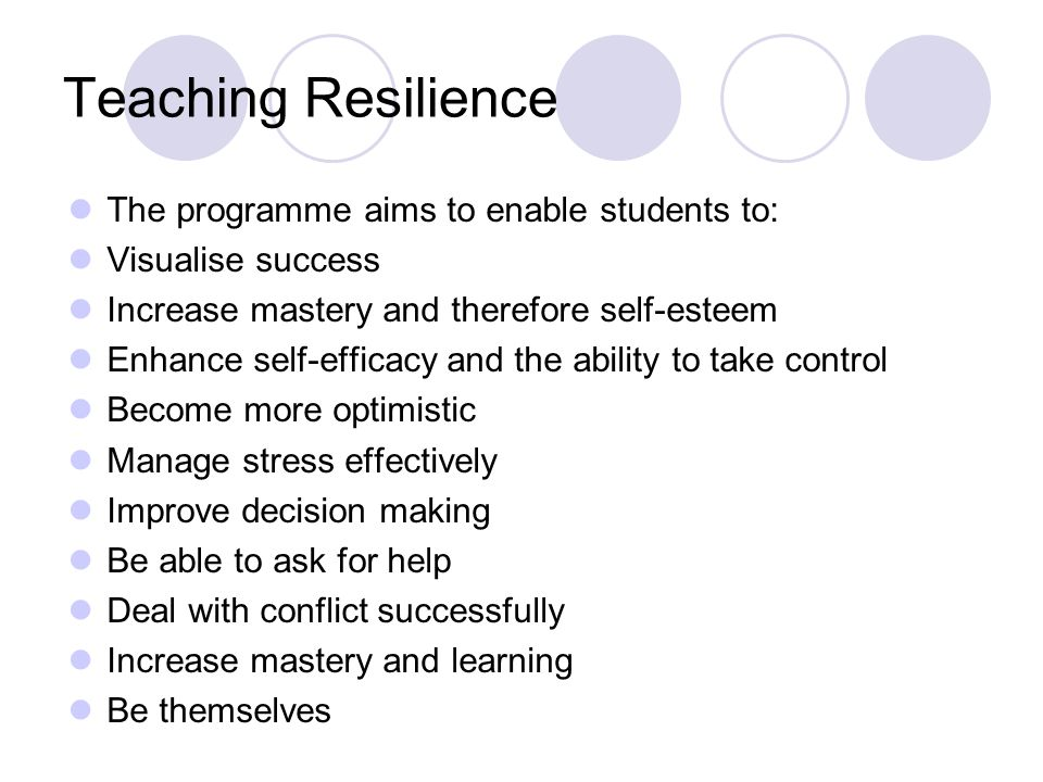 Teaching Resilience The programme aims to enable students to: