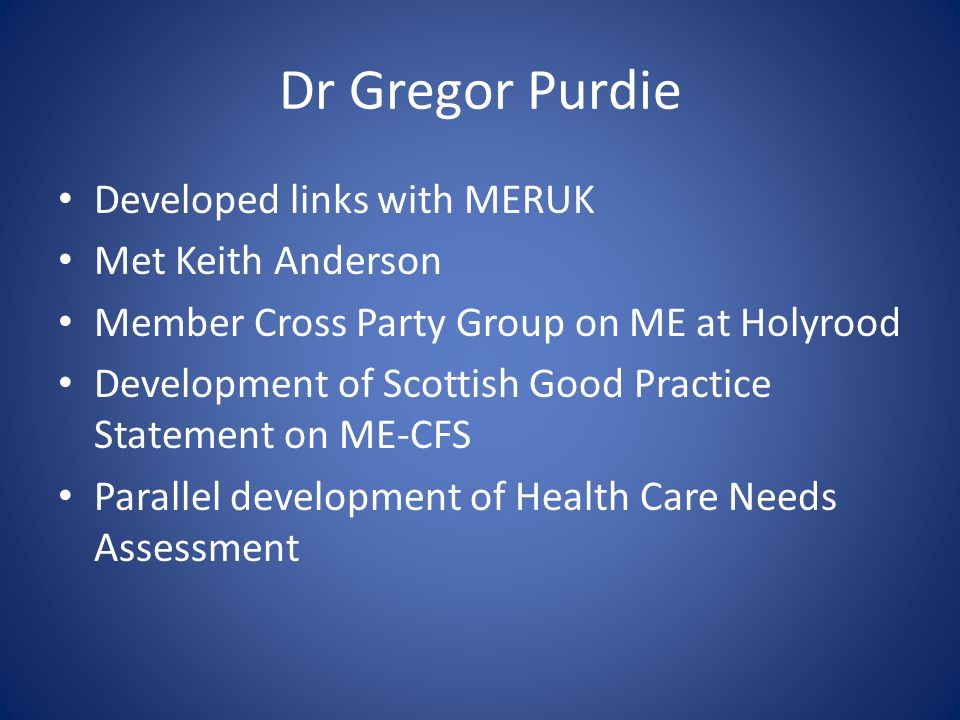 Dr Gregor Purdie Developed links with MERUK Met Keith Anderson