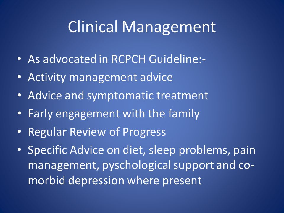 Clinical Management As advocated in RCPCH Guideline:-
