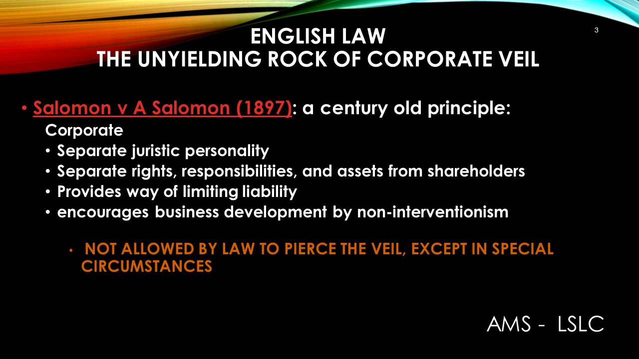 English law The unyielding rock of corporate veil