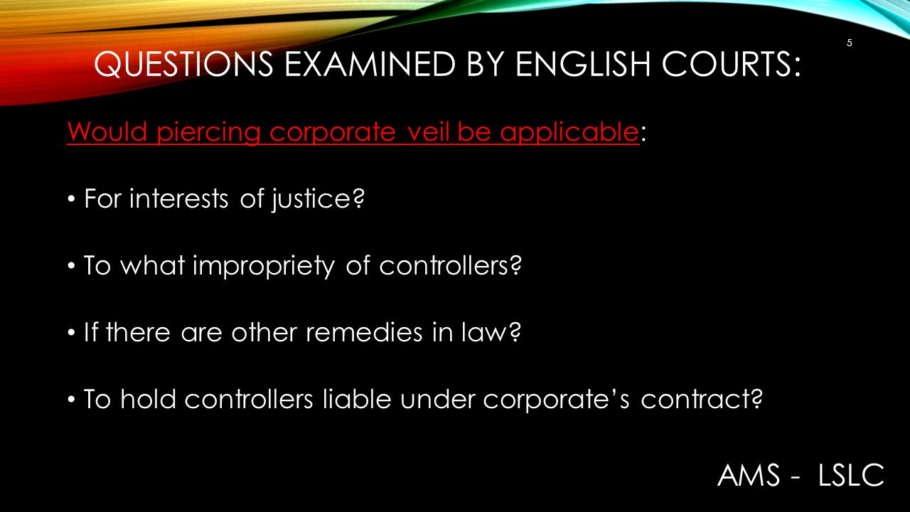 questions examined by English courts: