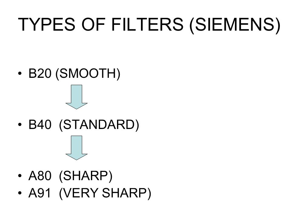 TYPES OF FILTERS (SIEMENS)