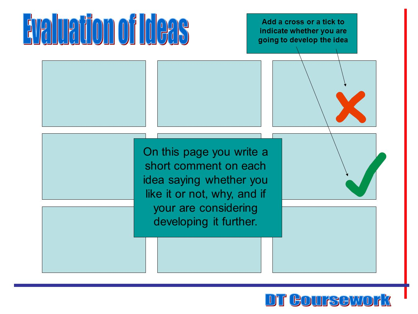 Evaluation of Ideas DT Coursework