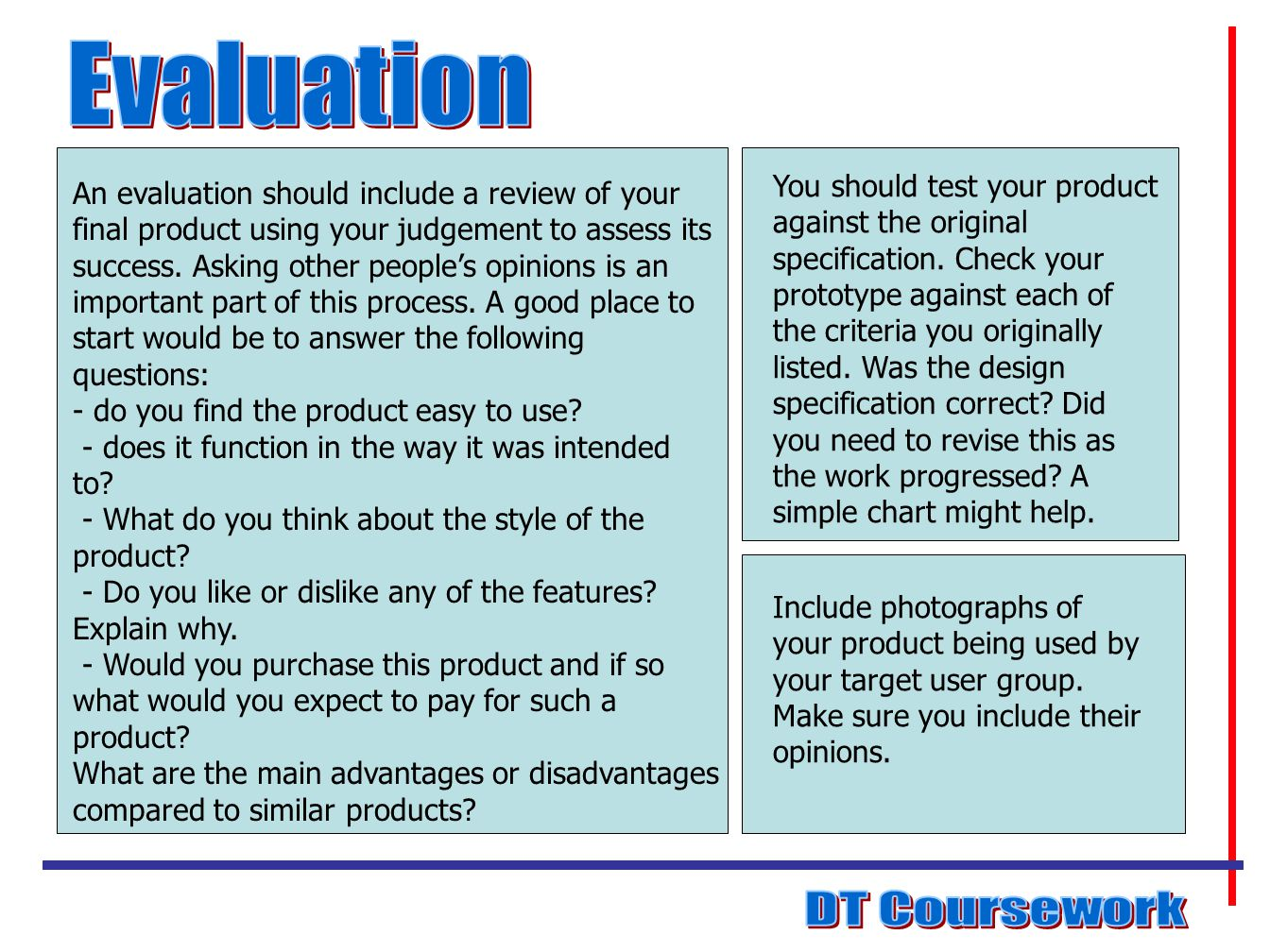 how to write an evaluation for food technology