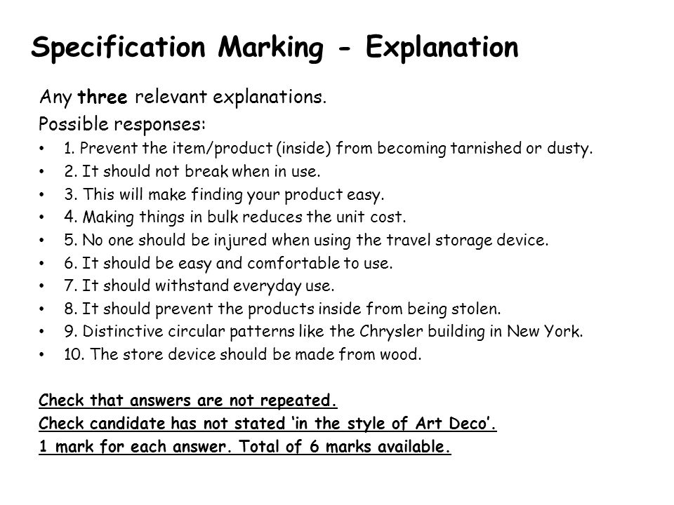 Specification Marking - Explanation