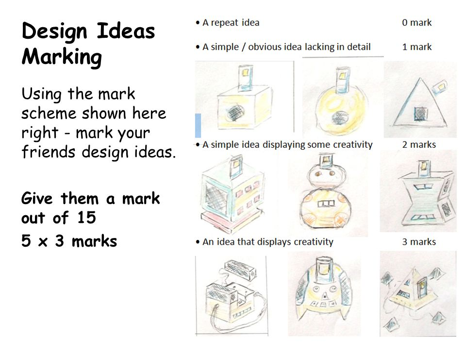 Design Ideas Marking Using the mark scheme shown here right - mark your friends design ideas.