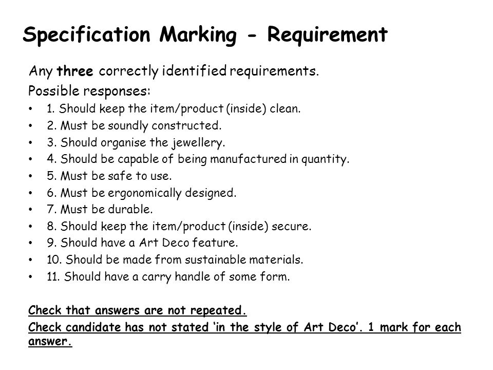 Specification Marking - Requirement