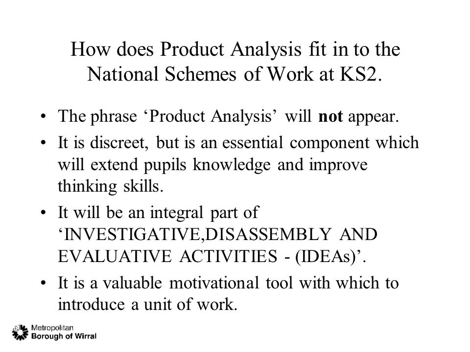 How does Product Analysis fit in to the National Schemes of Work at KS2.
