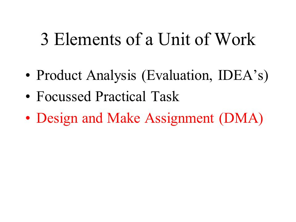 3 Elements of a Unit of Work