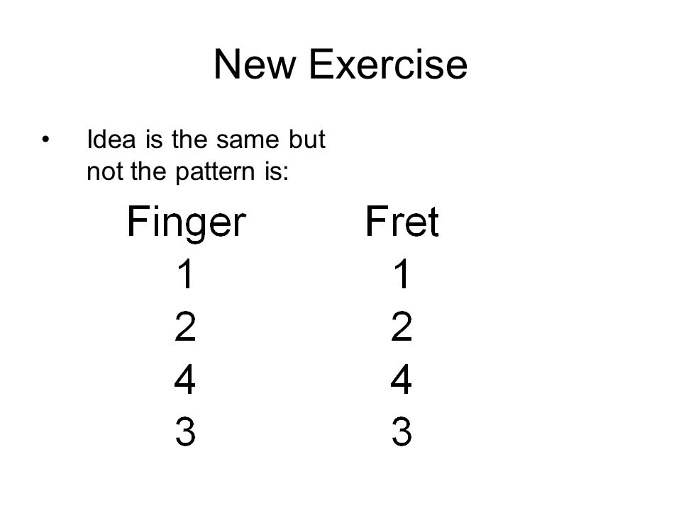 New Exercise Idea is the same but not the pattern is: