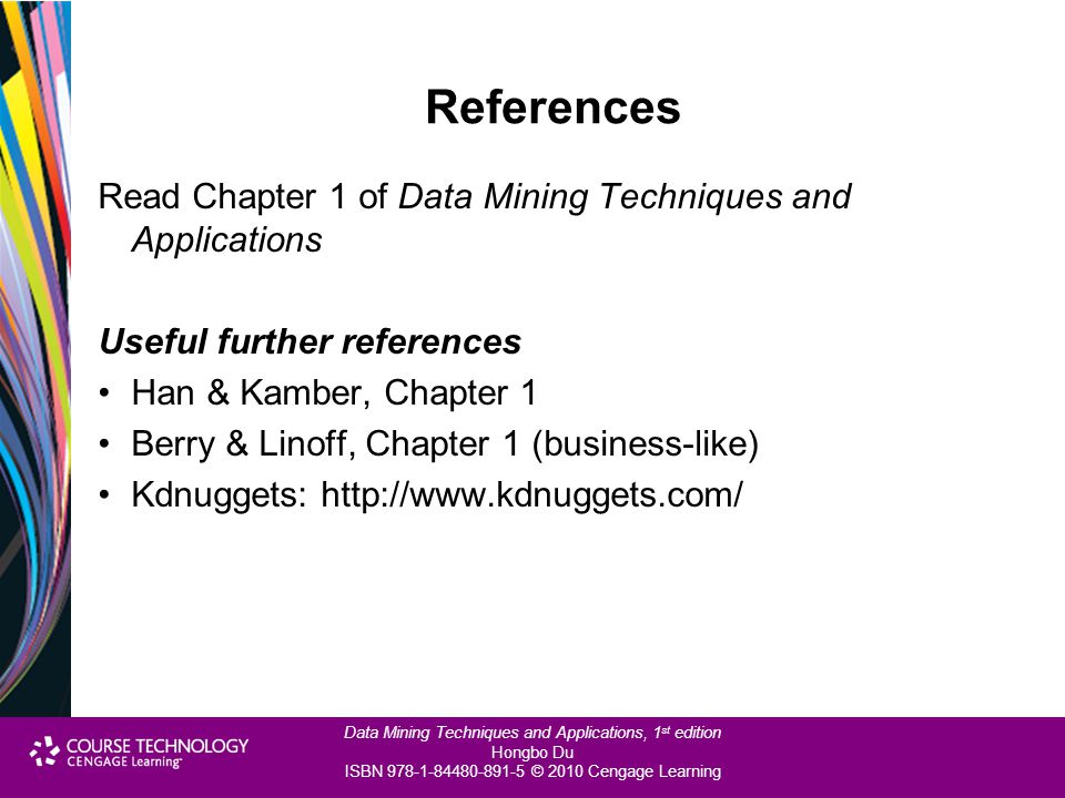 References Read Chapter 1 of Data Mining Techniques and Applications