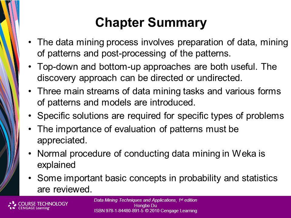 Chapter Summary The data mining process involves preparation of data, mining of patterns and post-processing of the patterns.