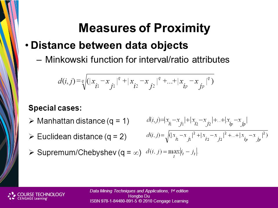 Measures of Proximity Distance between data objects