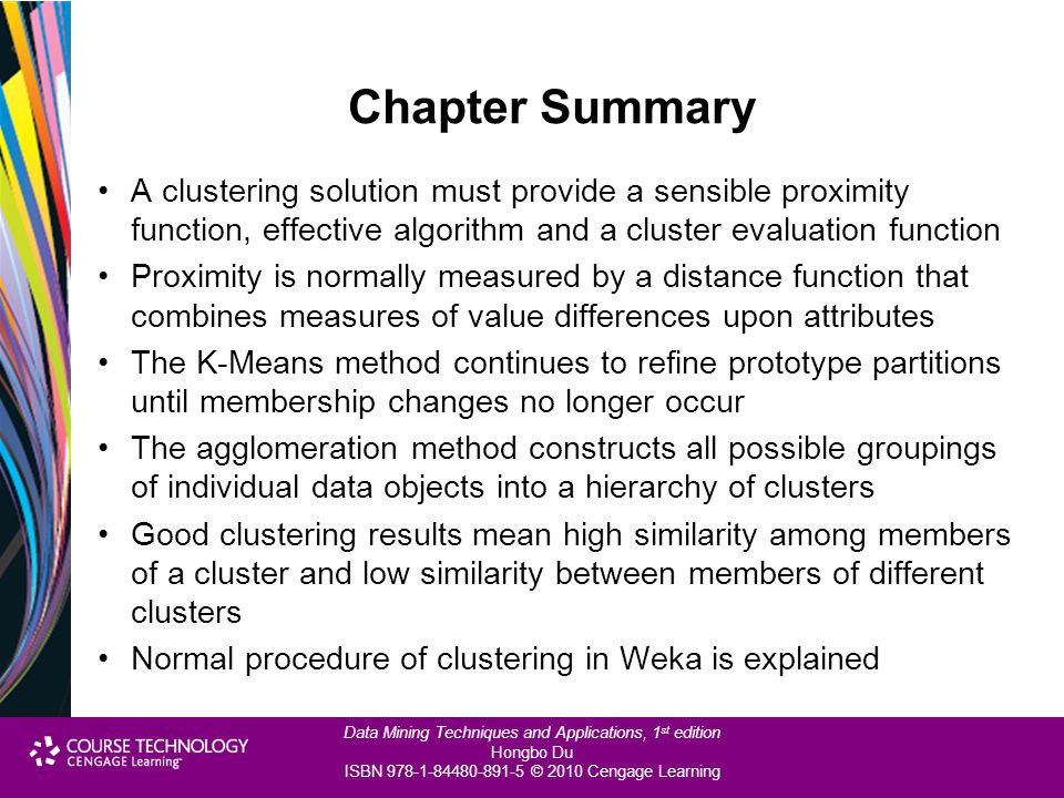 Chapter Summary A clustering solution must provide a sensible proximity function, effective algorithm and a cluster evaluation function.