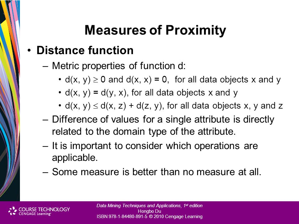 Measures of Proximity Distance function