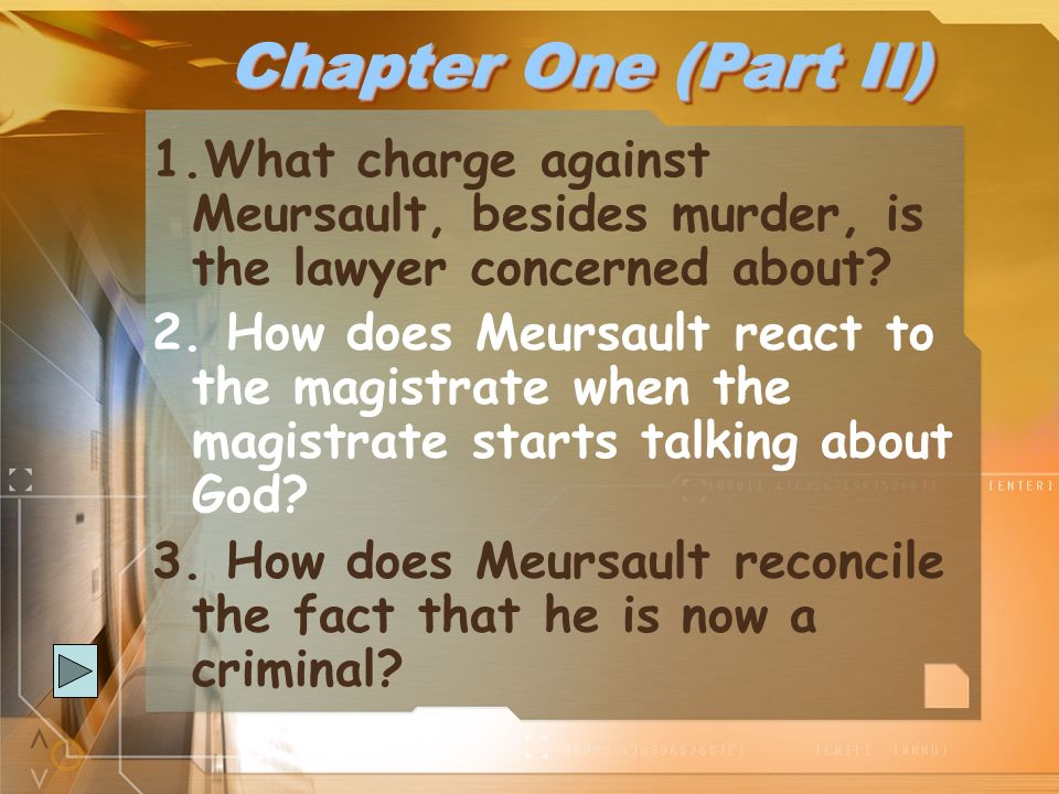 Chapter One (Part II) What charge against Meursault, besides murder, is the lawyer concerned about