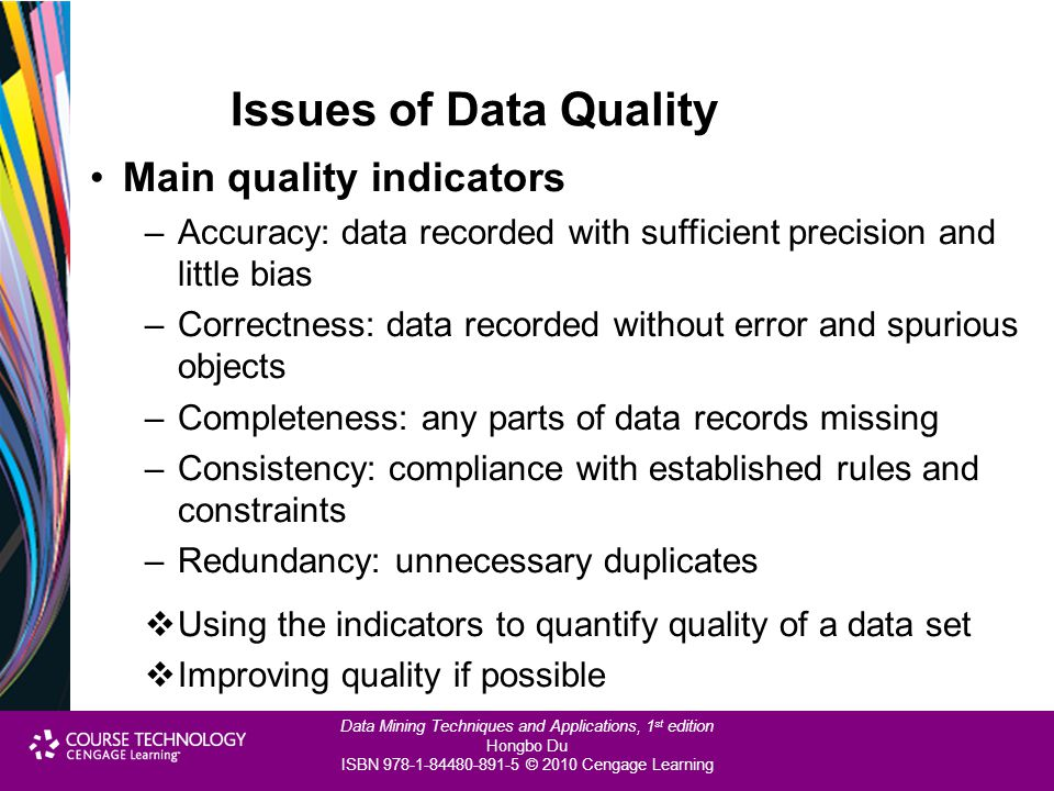 Issues of Data Quality Main quality indicators