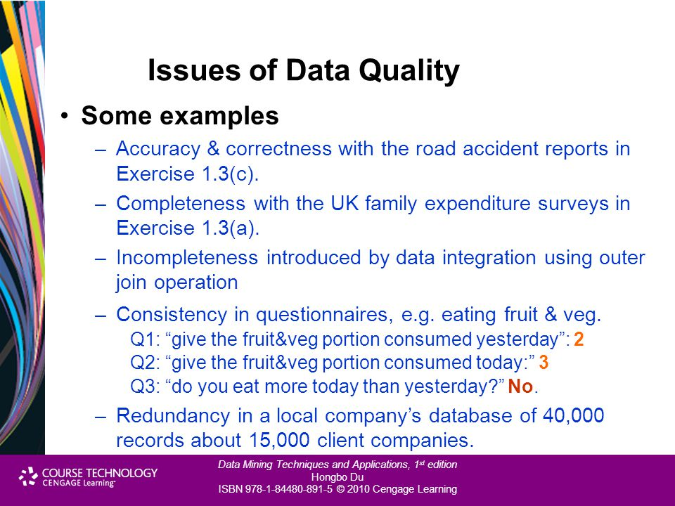 Issues of Data Quality Some examples