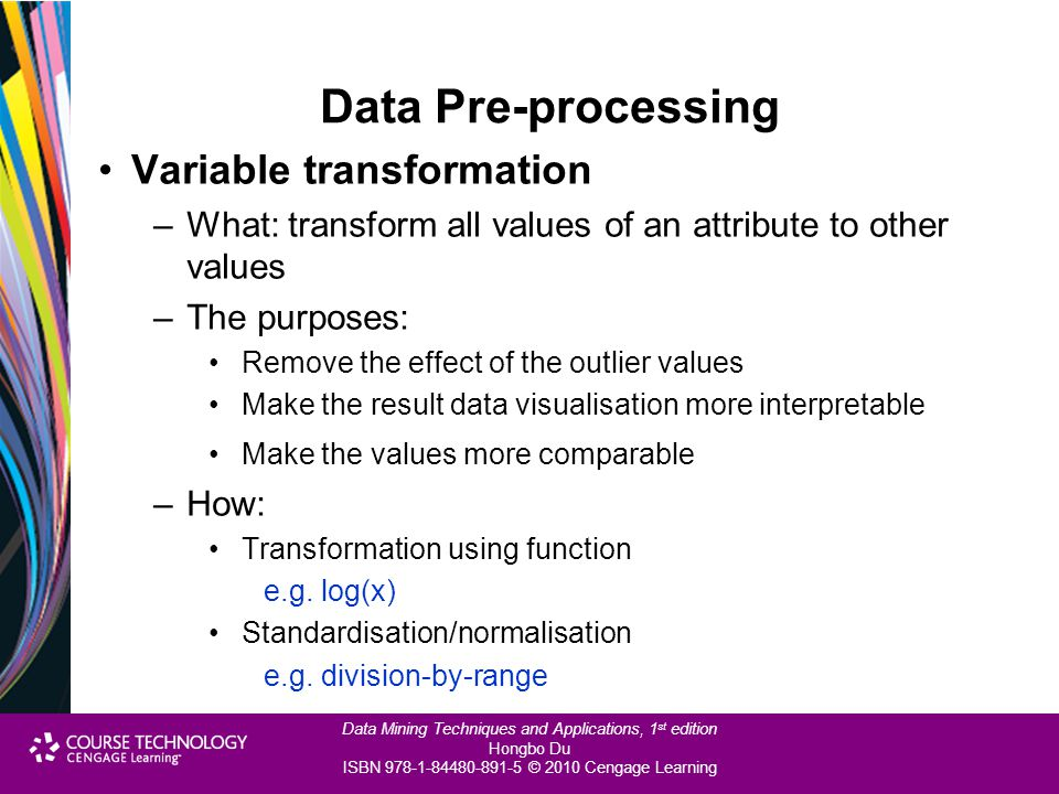 Data Pre-processing Variable transformation