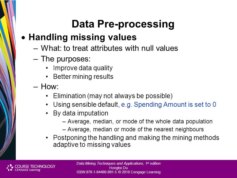 Data Pre-processing Handling missing values