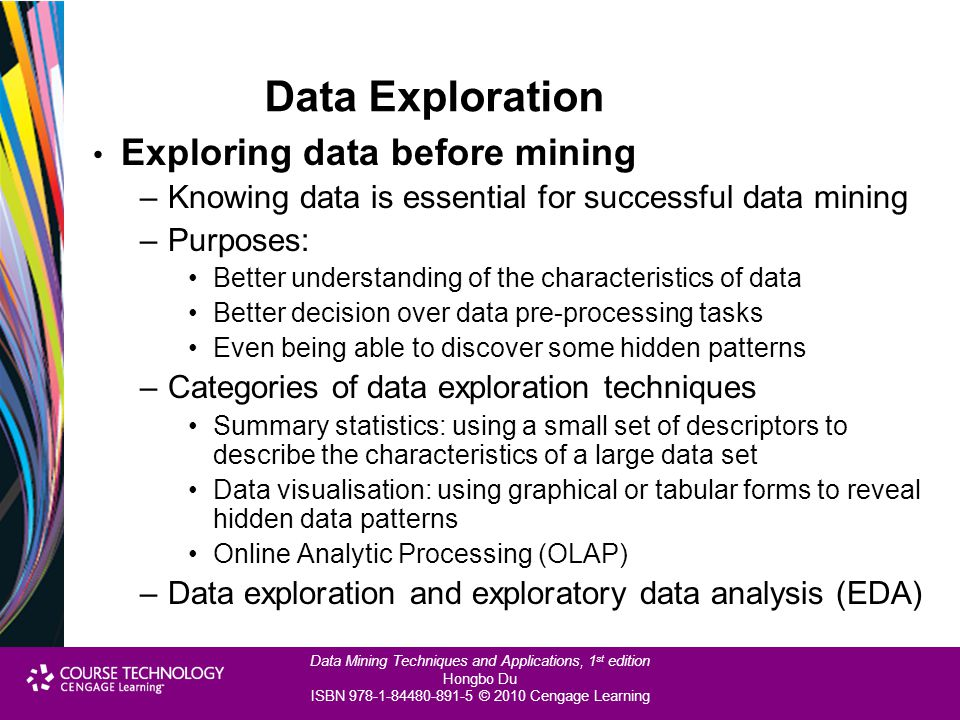 Data Exploration Exploring data before mining