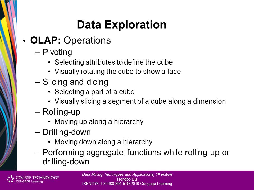 Data Exploration OLAP: Operations Pivoting Slicing and dicing